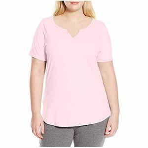 🌿➕{jms} Pink Split Neck T-Shirt